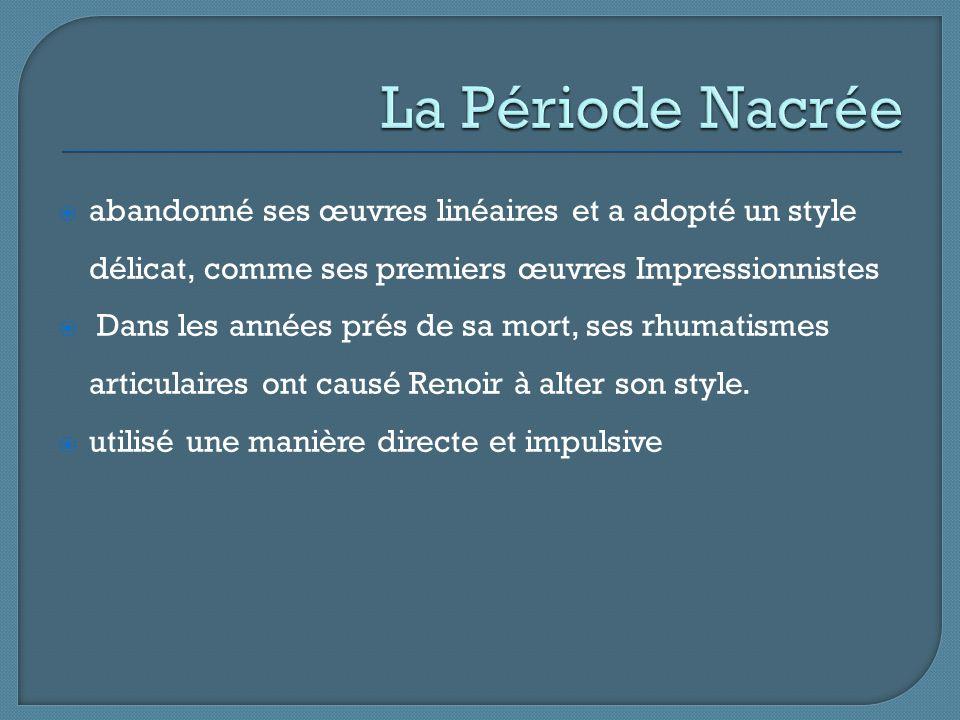 La Période Nacrée abandonné ses œuvres linéaires et a adopté un style délicat, comme ses premiers œuvres Impressionnistes.
