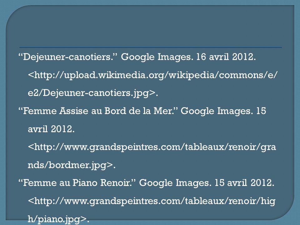 Dejeuner-canotiers. Google Images. 16 avril 2012. <http://upload