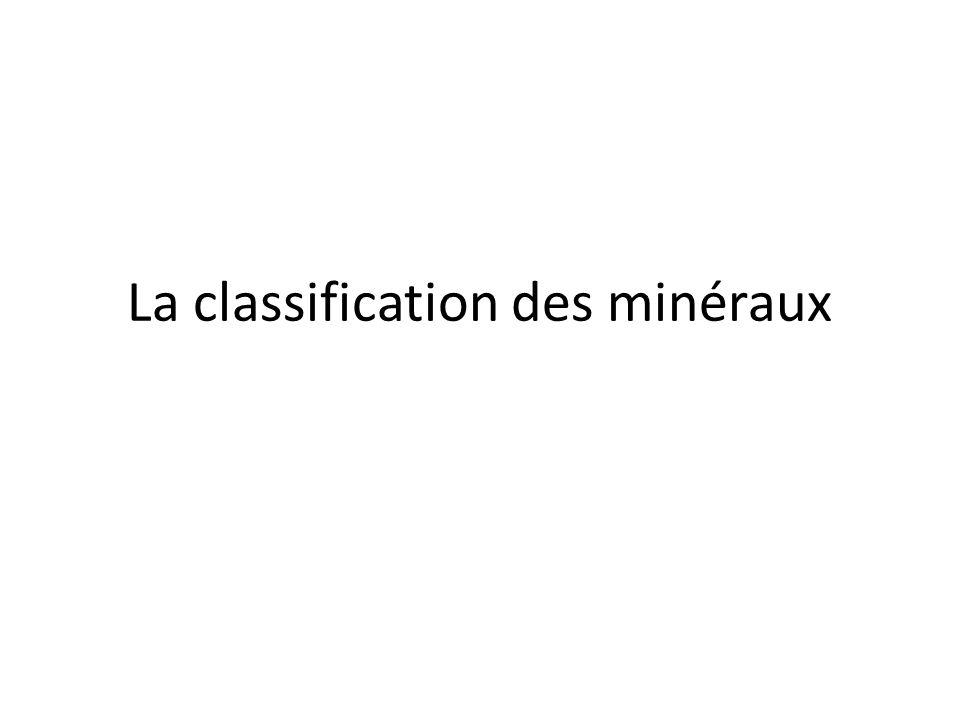 La classification des minéraux
