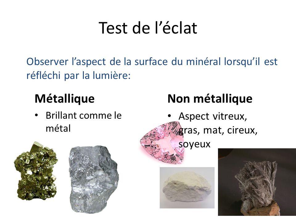 Test de l'éclat Métallique Non métallique