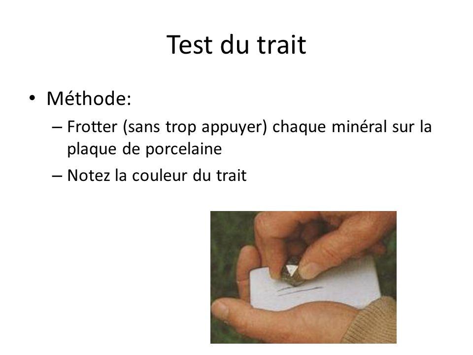 Test du trait Méthode: Frotter (sans trop appuyer) chaque minéral sur la plaque de porcelaine.