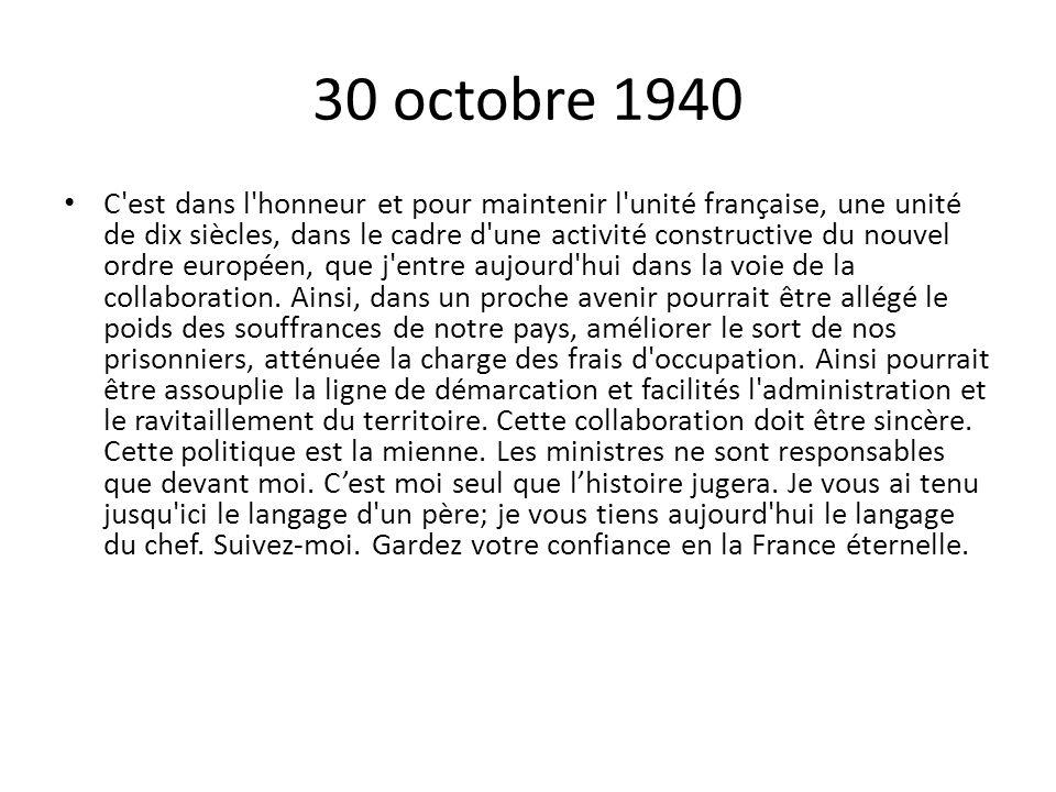 30 octobre 1940
