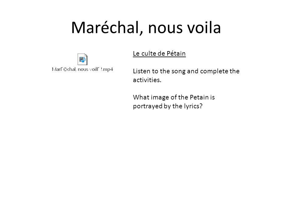 Maréchal, nous voila Le culte de Pétain