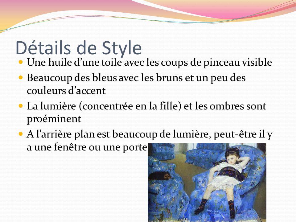 Détails de Style Une huile d'une toile avec les coups de pinceau visible. Beaucoup des bleus avec les bruns et un peu des couleurs d'accent.