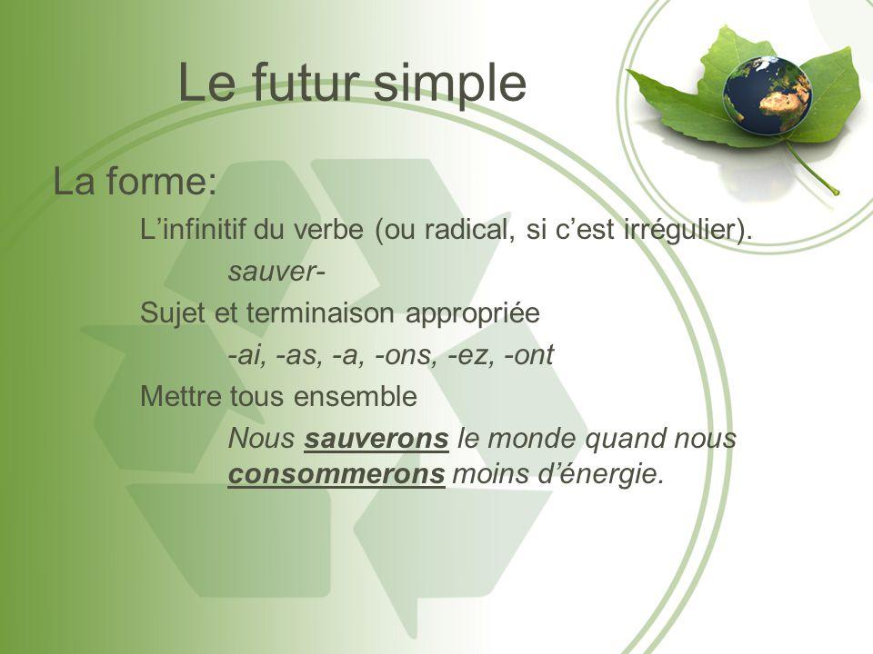 Le futur simple La forme: