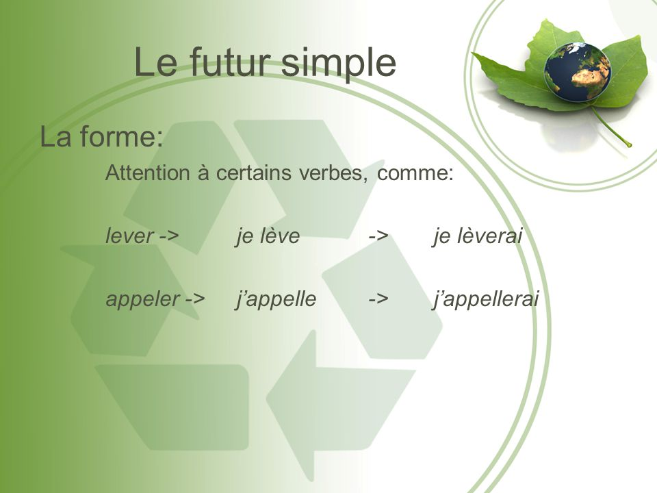 Le futur simple La forme: Attention à certains verbes, comme: