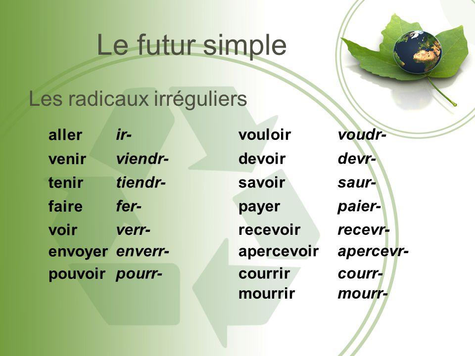 Le futur simple Les radicaux irréguliers aller ir- vouloir voudr-