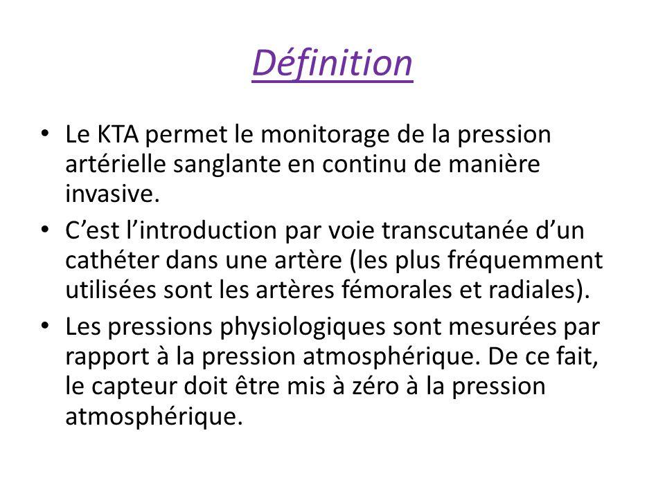 Définition Le KTA permet le monitorage de la pression artérielle sanglante en continu de manière invasive.