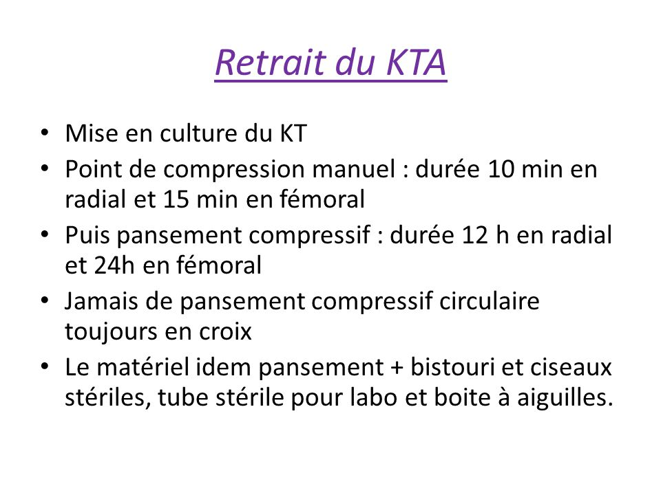 Retrait du KTA Mise en culture du KT