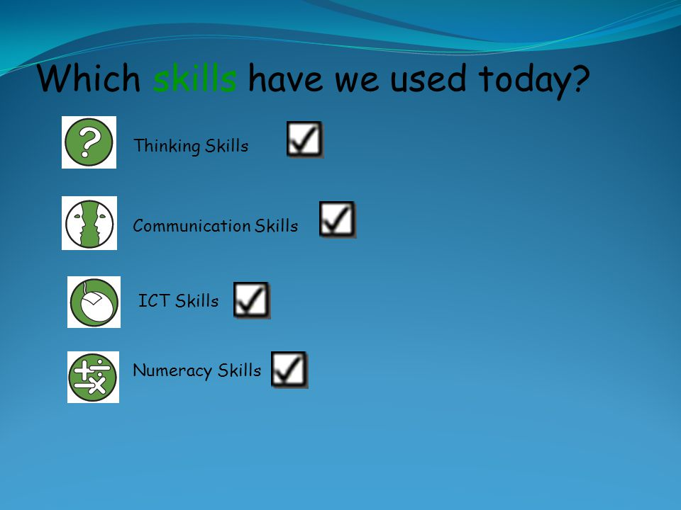 Which skills have we used today