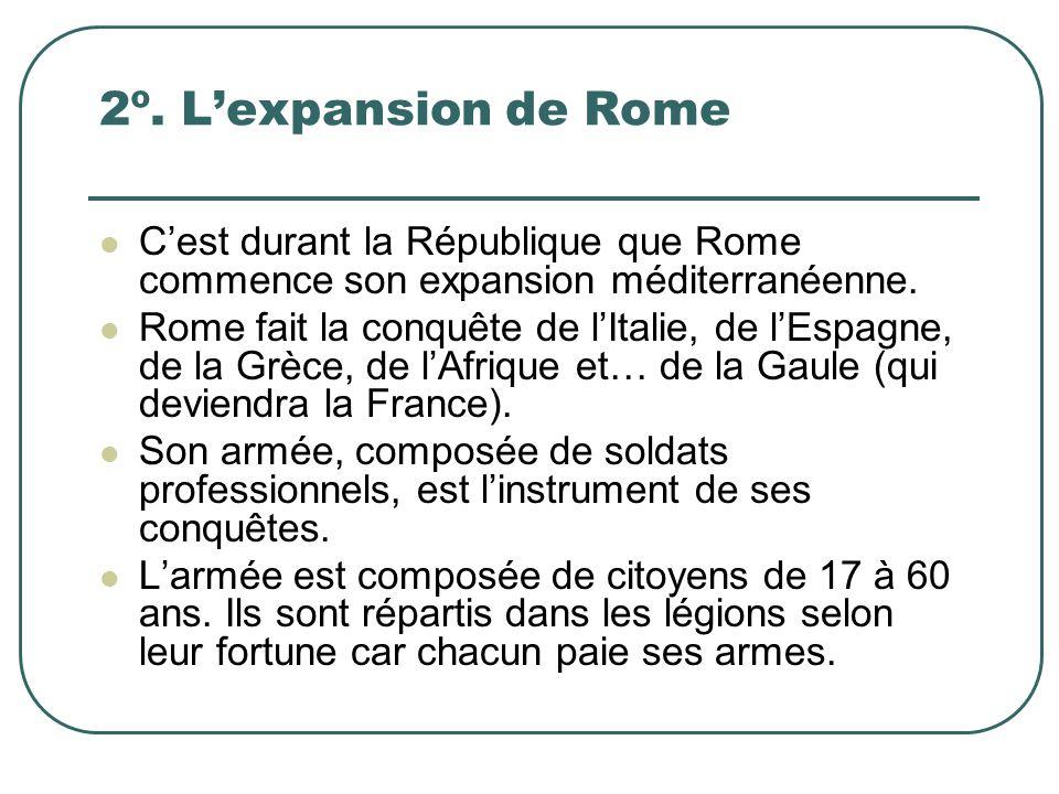 2º. L'expansion de Rome C'est durant la République que Rome commence son expansion méditerranéenne.