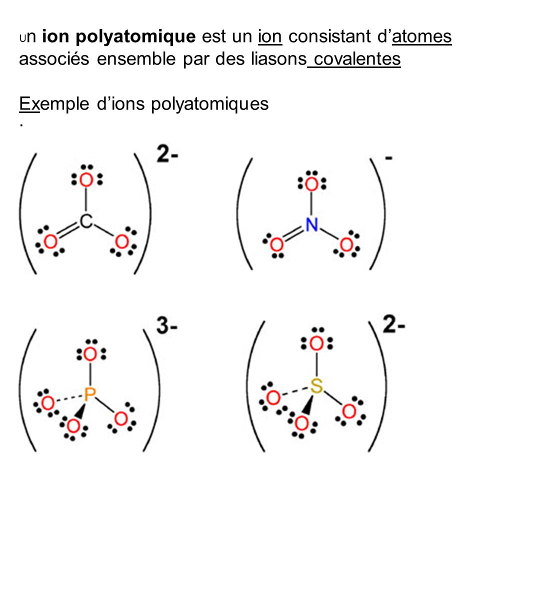 Exemple d'ions polyatomiques ·