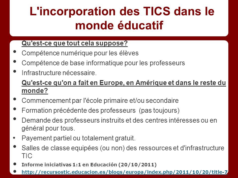 L incorporation des TICS dans le monde éducatif