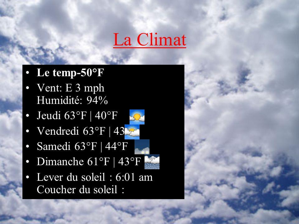 La Climat Le temp-50°F Vent: E 3 mph Humidité: 94% Jeudi 63°F | 40°F