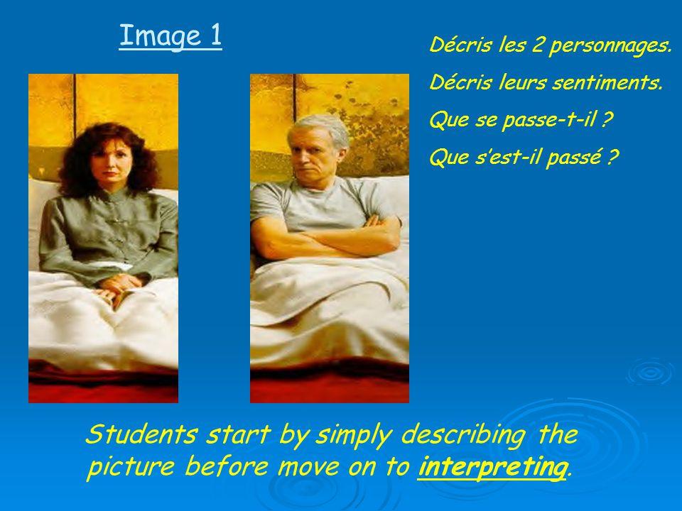 Image 1 Décris les 2 personnages. Décris leurs sentiments. Que se passe-t-il Que s'est-il passé
