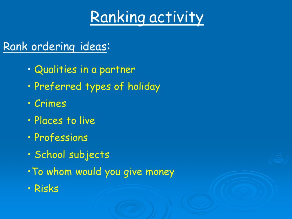 Ranking activity Rank ordering ideas: Qualities in a partner