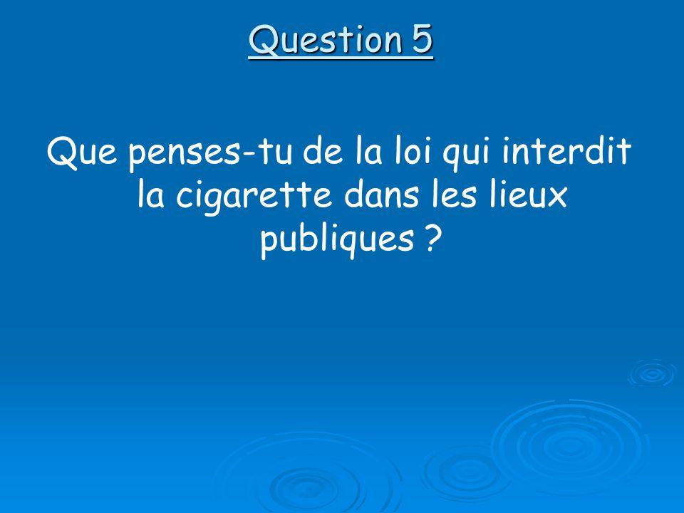 Question 5 Que penses-tu de la loi qui interdit la cigarette dans les lieux publiques