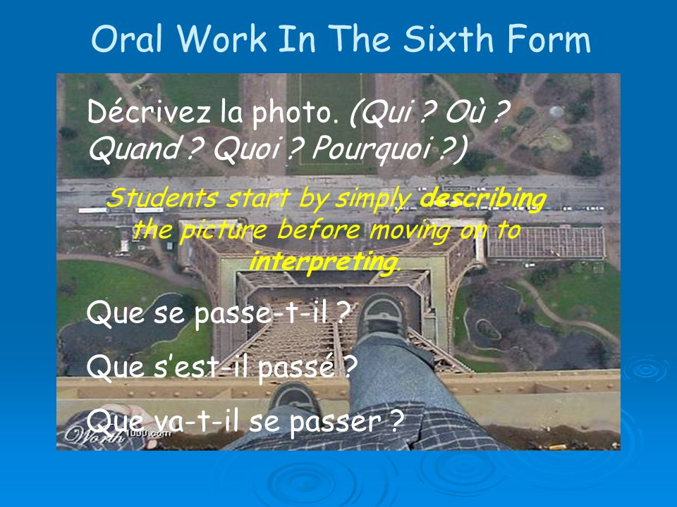 Oral Work In The Sixth Form