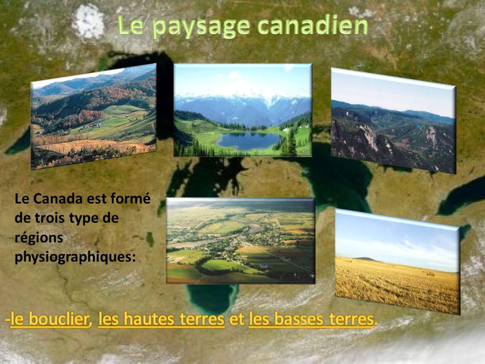 Le paysage canadien Le Canada est formé de trois type de régions physiographiques: -le bouclier, les hautes terres et les basses terres.