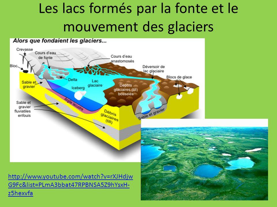Les lacs formés par la fonte et le mouvement des glaciers