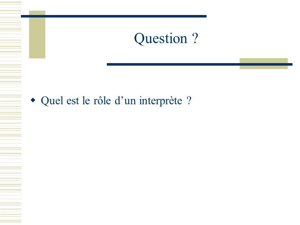 Question Quel est le rôle d'un interprète