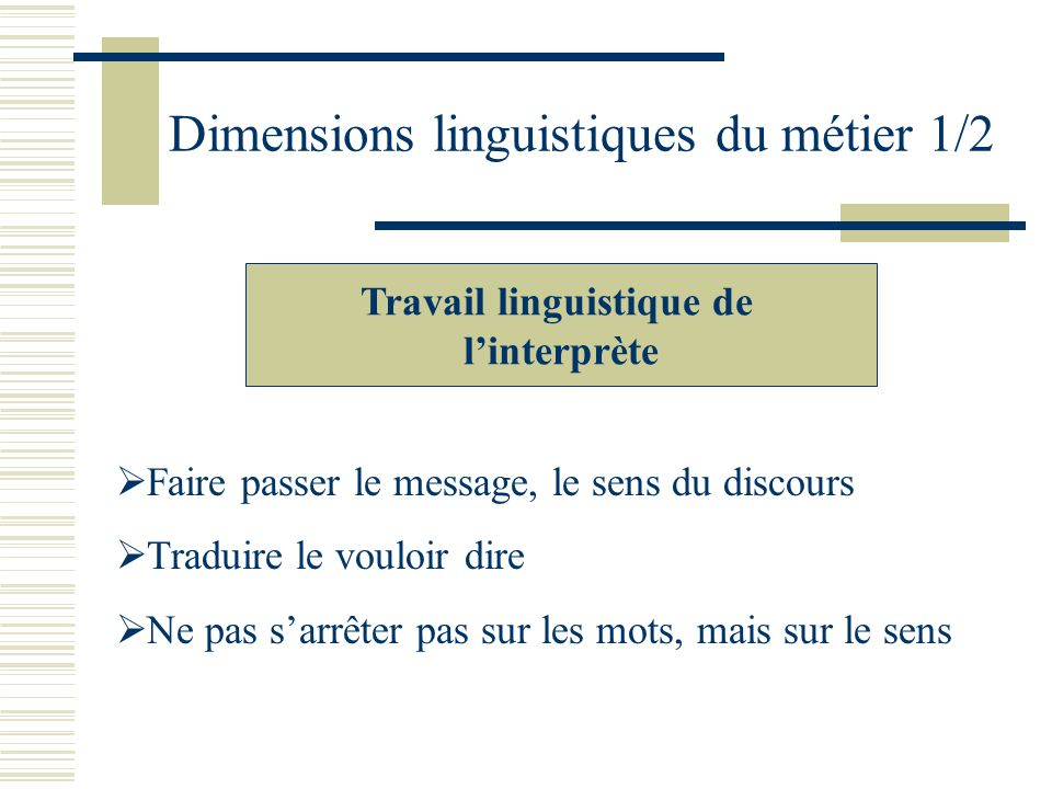 Dimensions linguistiques du métier 1/2