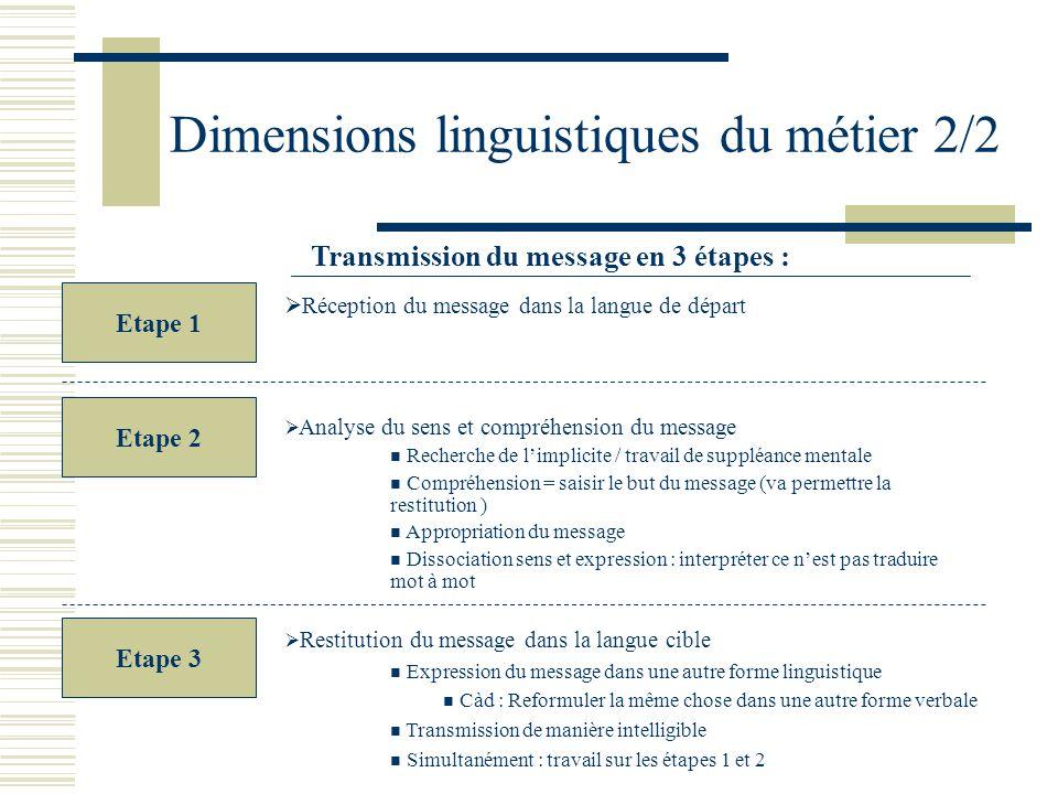 Dimensions linguistiques du métier 2/2