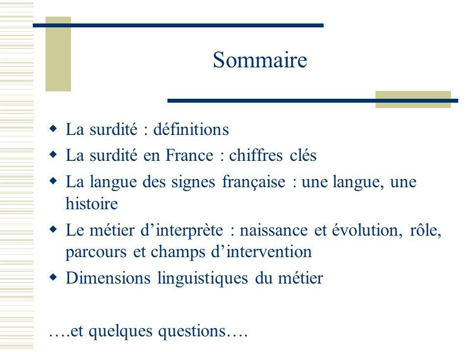 Sommaire La surdité : définitions La surdité en France : chiffres clés