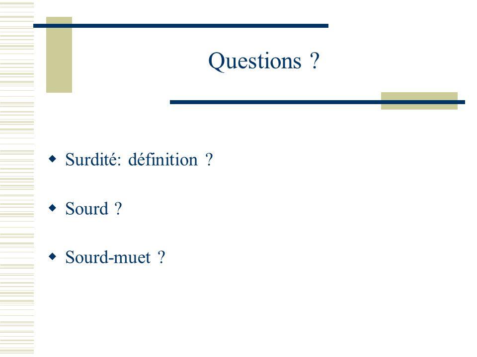 Questions Surdité: définition Sourd Sourd-muet