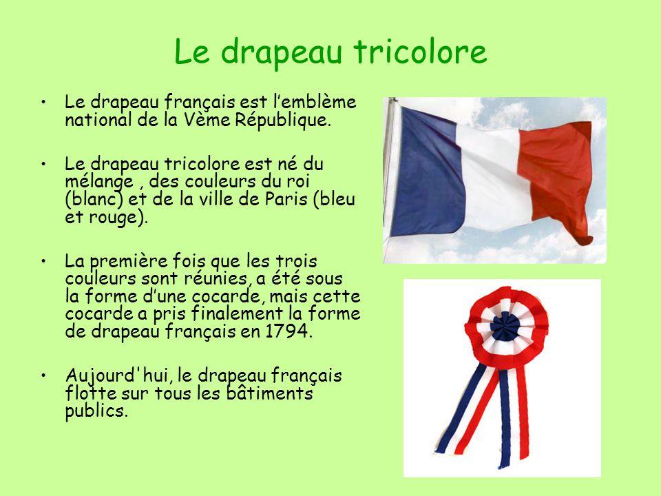 Le drapeau tricolore Le drapeau français est l'emblème national de la Vème République.