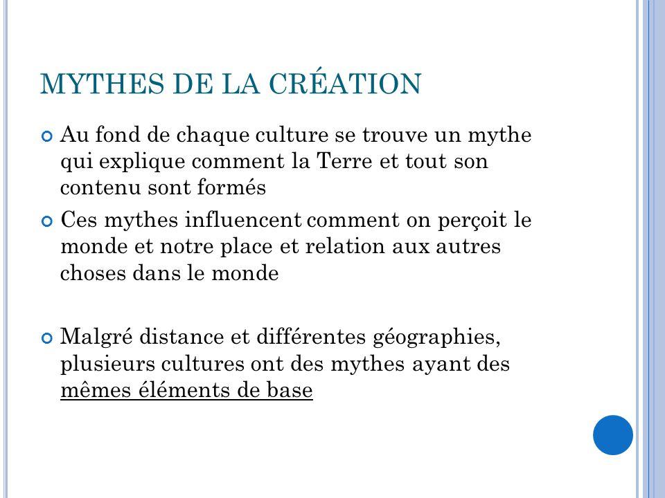 MYTHES DE LA CRÉATION Au fond de chaque culture se trouve un mythe qui explique comment la Terre et tout son contenu sont formés.