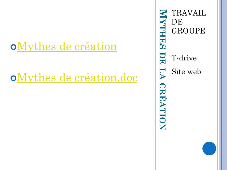 Mythes de création Mythes de création.doc Mythes de la création