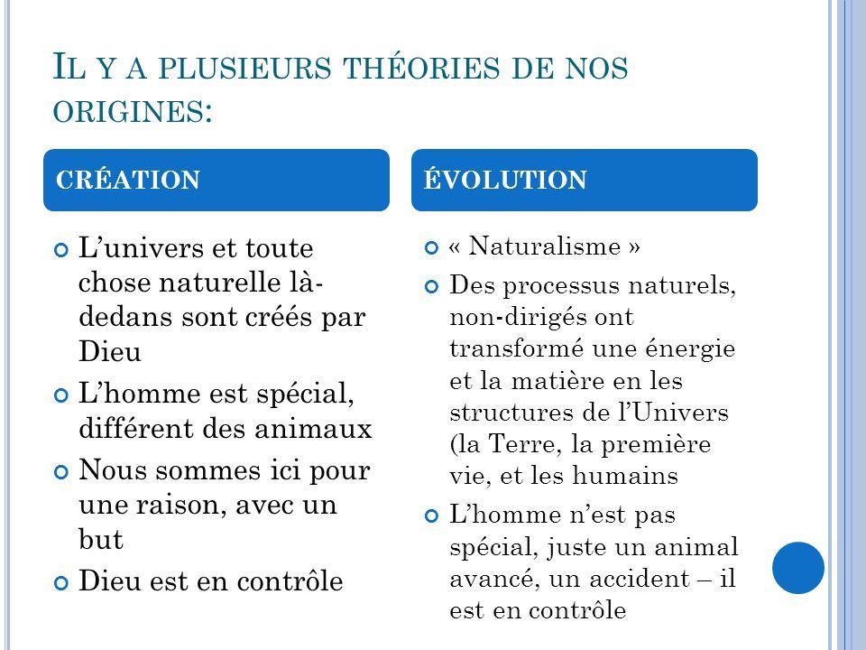 Il y a plusieurs théories de nos origines: