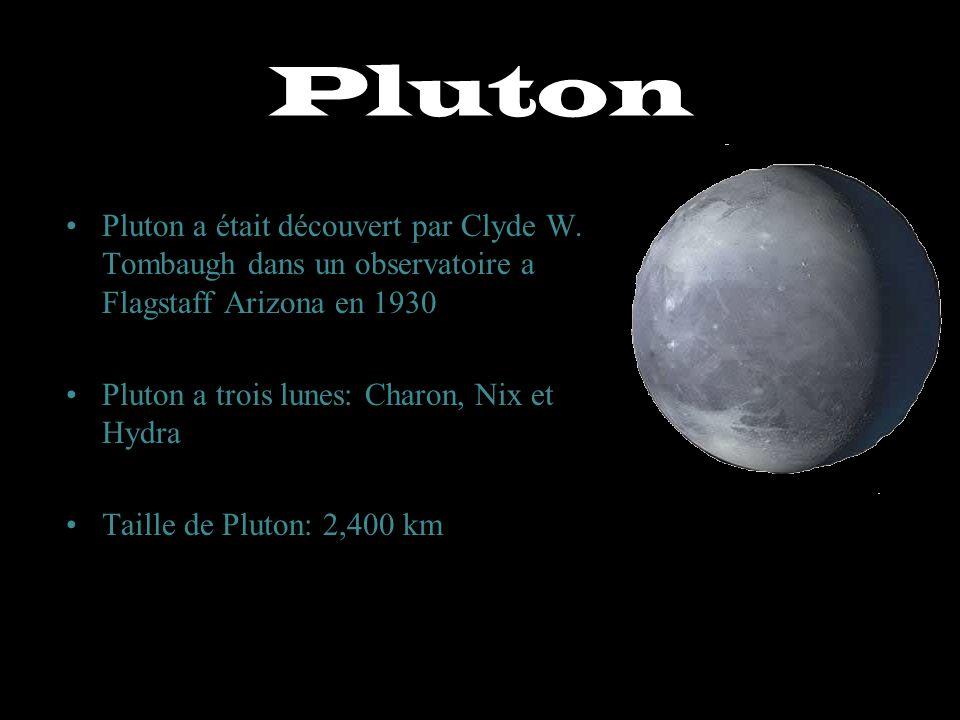 Pluton Pluton a était découvert par Clyde W. Tombaugh dans un observatoire a Flagstaff Arizona en 1930.