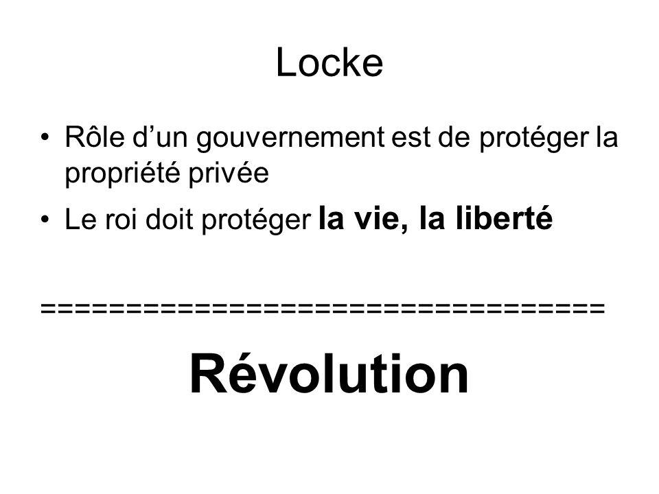 Locke Rôle d'un gouvernement est de protéger la propriété privée. Le roi doit protéger la vie, la liberté.