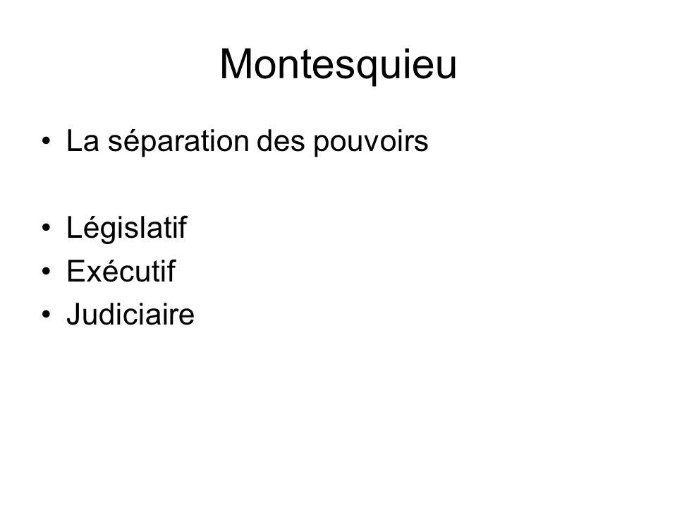 Montesquieu La séparation des pouvoirs Législatif Exécutif Judiciaire