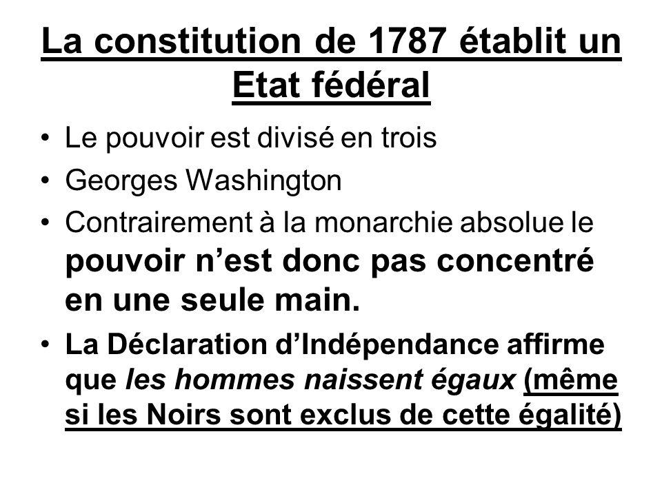 La constitution de 1787 établit un Etat fédéral