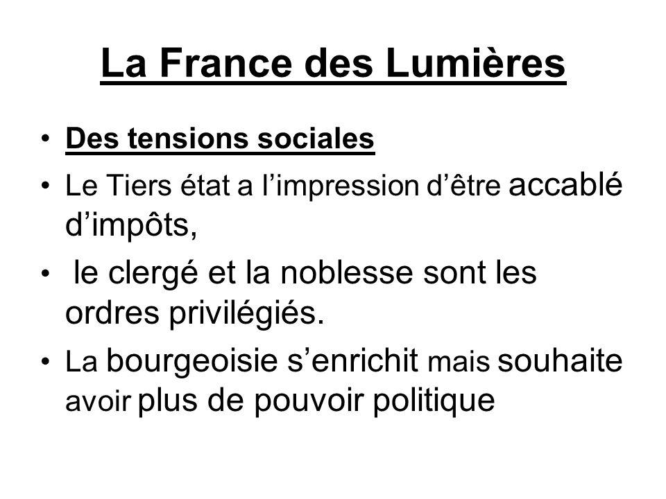 La France des Lumières Des tensions sociales