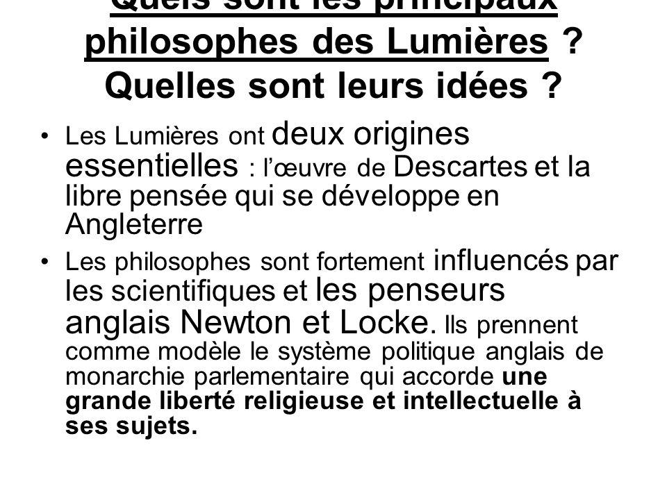 Quels sont les principaux philosophes des Lumières