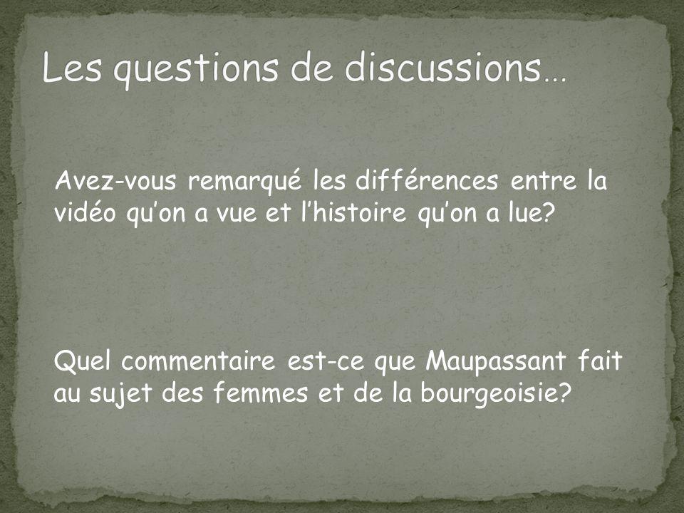 Les questions de discussions…