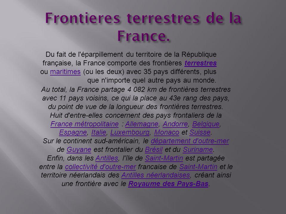 Frontieres terrestres de la France.