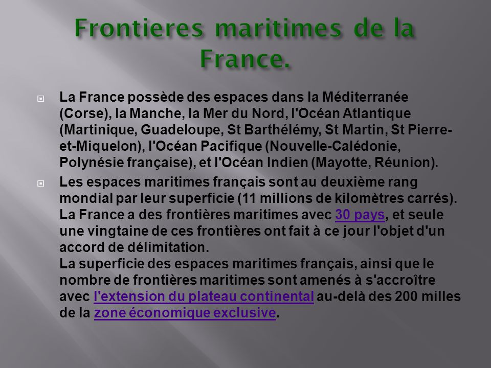 Frontieres maritimes de la France.