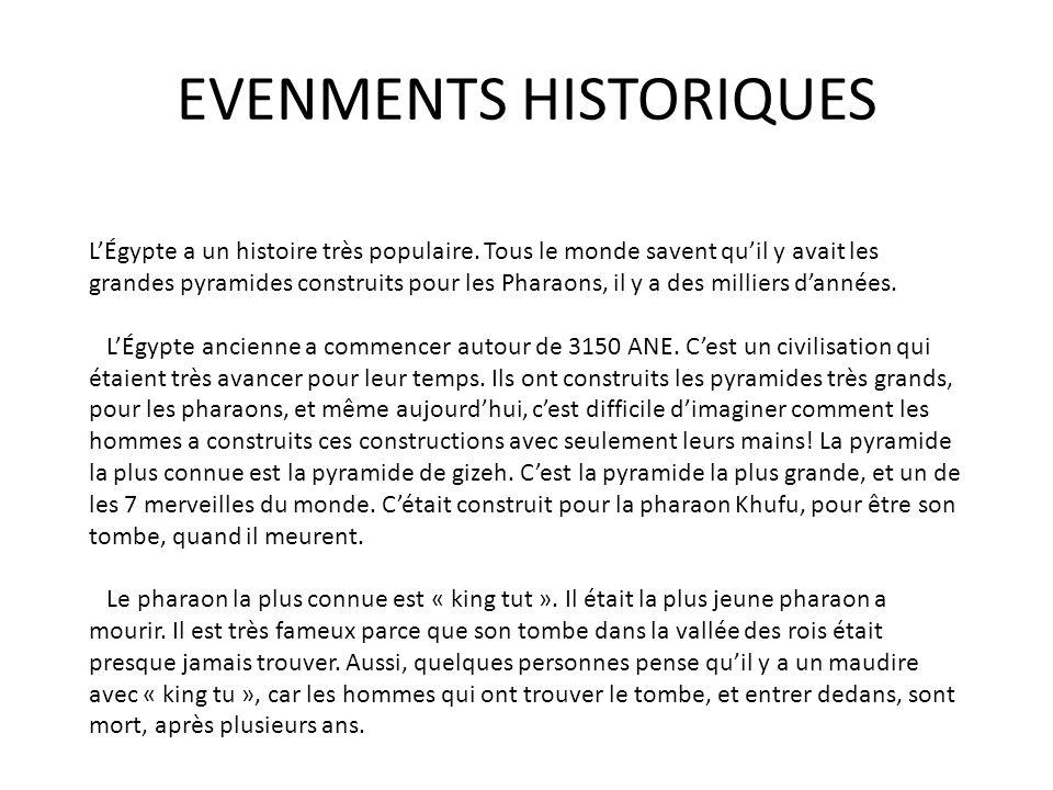 EVENMENTS HISTORIQUES