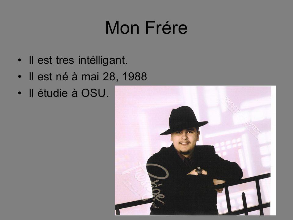 Mon Frére Il est tres intélligant. Il est né à mai 28, 1988