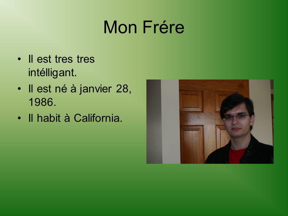 Mon Frére Il est tres tres intélligant. Il est né à janvier 28, 1986.
