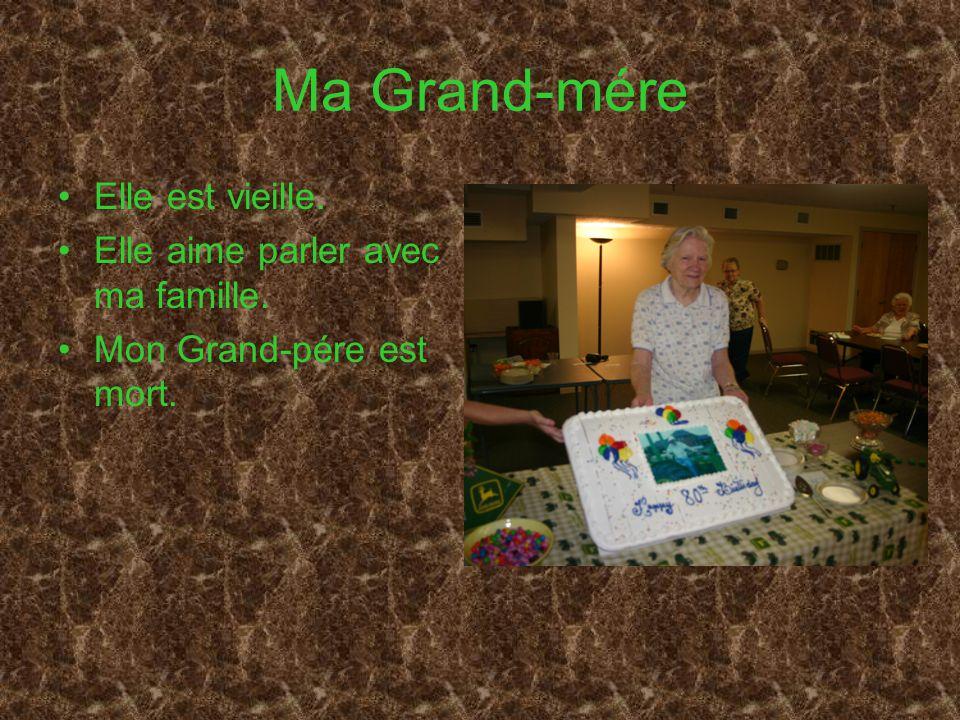 Ma Grand-mére Elle est vieille. Elle aime parler avec ma famille.