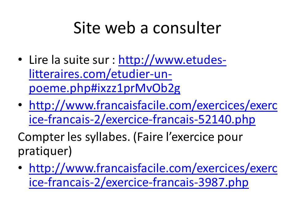 Site web a consulter Lire la suite sur : http://www.etudes-litteraires.com/etudier-un-poeme.php#ixzz1prMvOb2g.