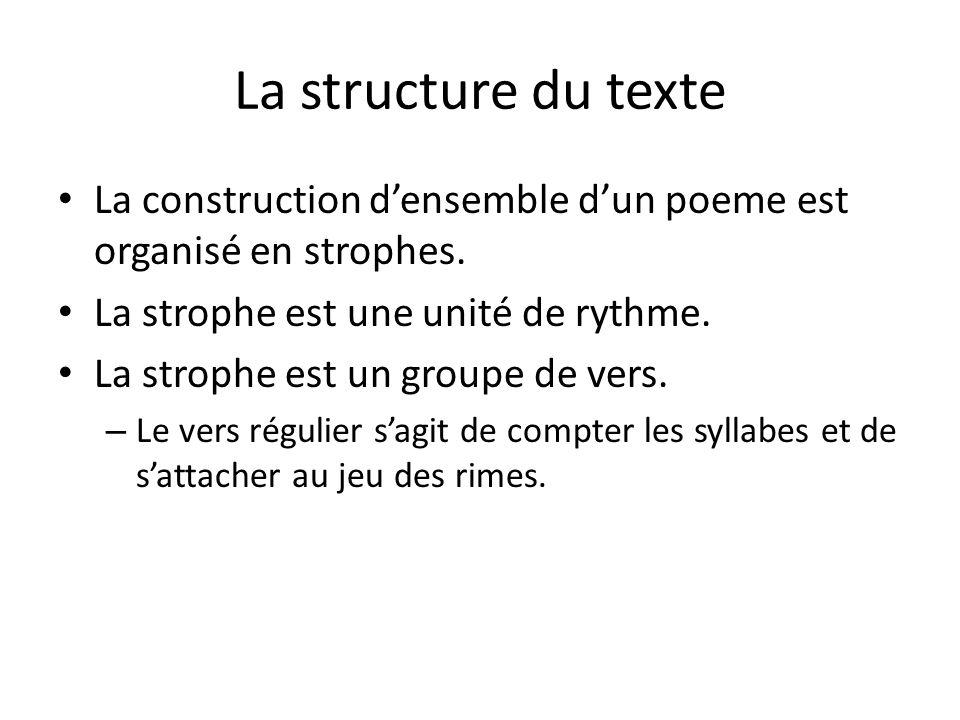 La structure du texte La construction d'ensemble d'un poeme est organisé en strophes. La strophe est une unité de rythme.