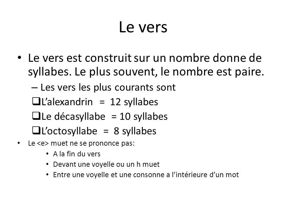 Le vers Le vers est construit sur un nombre donne de syllabes. Le plus souvent, le nombre est paire.