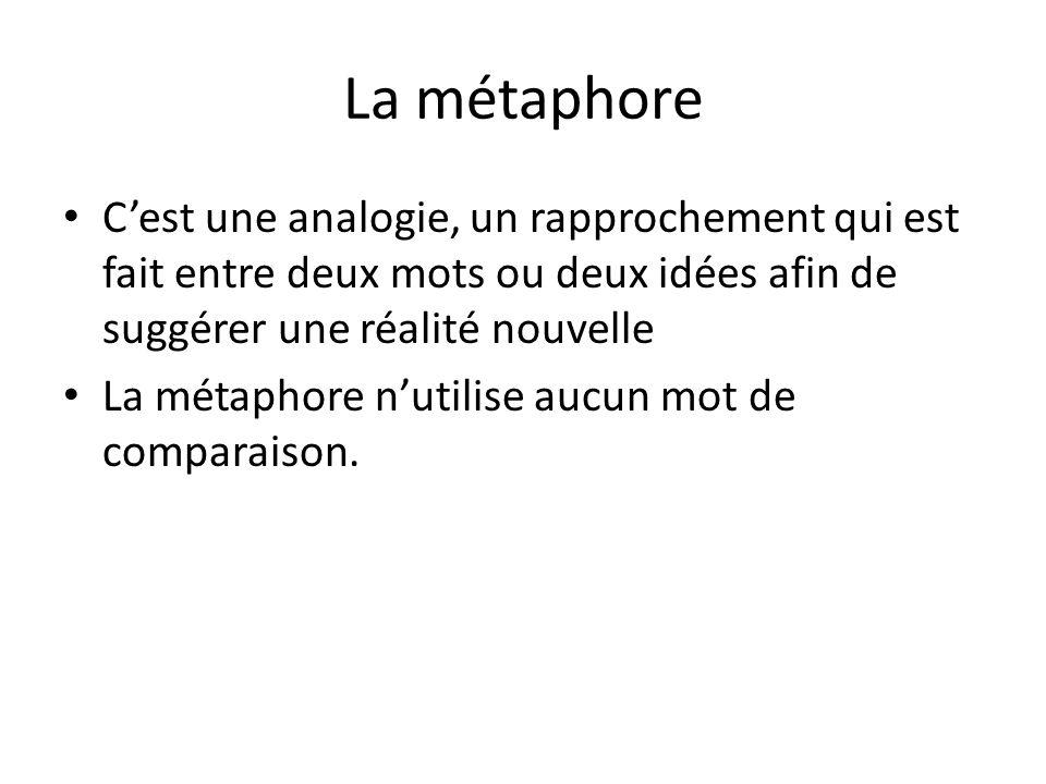 La métaphore C'est une analogie, un rapprochement qui est fait entre deux mots ou deux idées afin de suggérer une réalité nouvelle.